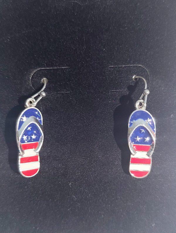 4th of July flip flop earrings