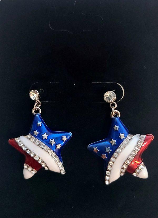 Red, White, Blue Star earrings