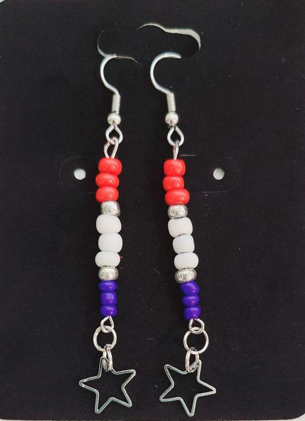 Red, White, Blue Long Earrings