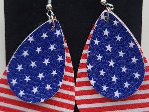 US flag leather earrings